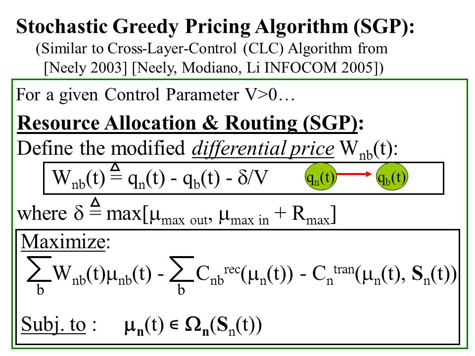 Stochastic Greedy Pricing Algorithm (SGP): (Similar to Cross-Layer-Control (CLC) Algorithm from [Neely 2003] [Neely, Modiano, Li INFOCOM 2005]) For a given Control Parameter V>0… Resource Allocation & Routing (SGP): Define the modified differential price W nb (t): W nb (t) = q n (t) - q b (t) -  /V where  = max[  max out,  max in + R max ] Maximize: W nb (t)  nb (t) - C nb rec (  n (t)) - C n tran (  n (t), S n (t)) Subj.