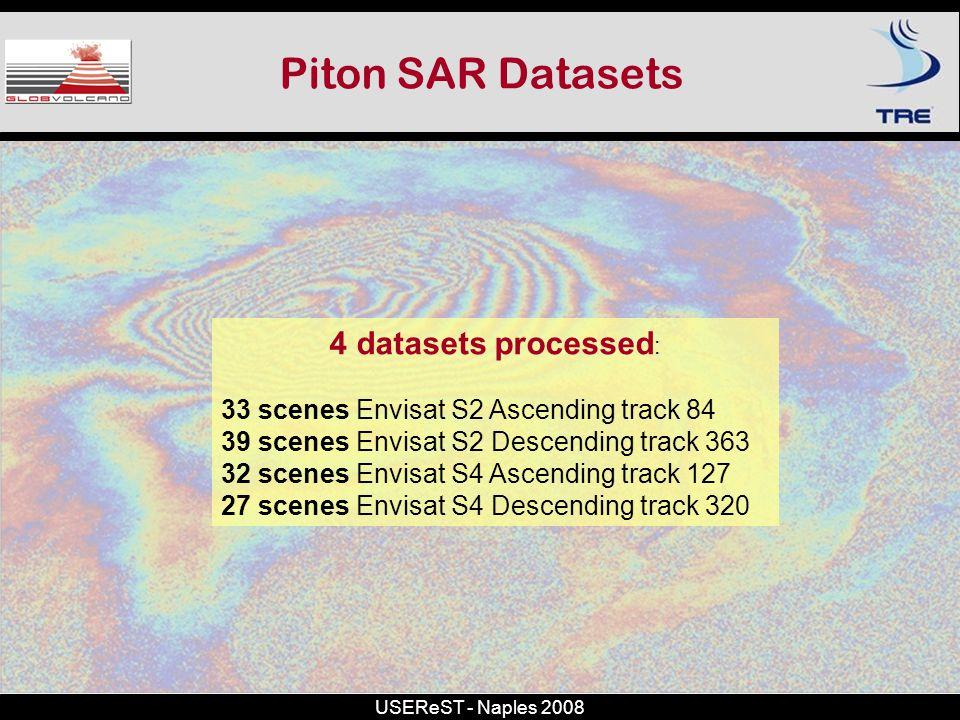 USEReST - Naples 2008 Piton SAR Datasets 4 datasets processed : 33 scenes Envisat S2 Ascending track 84 39 scenes Envisat S2 Descending track 363 32 s