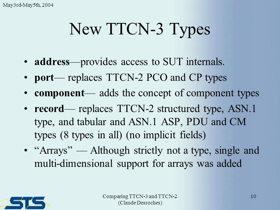 New TTCN-3 Types address—provides access to SUT internals. port— replaces TTCN-2 PCO and CP types component— adds the concept of component types recor