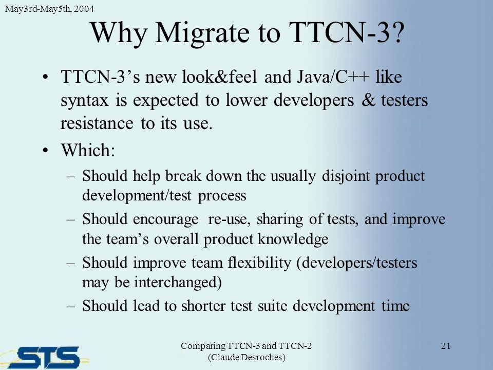 Why Migrate to TTCN-3.