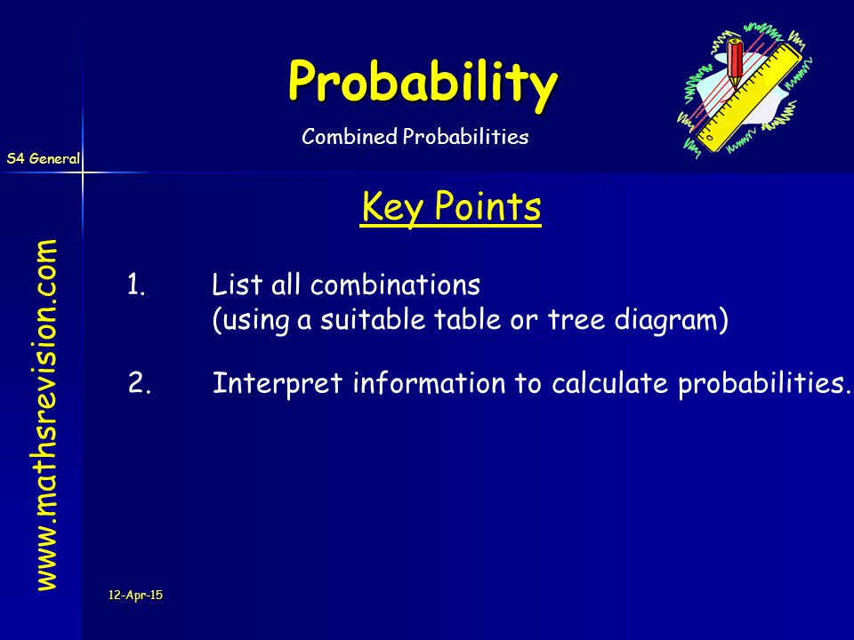 S4 General 12-Apr-15 Probability   Key Points 1.List all combinations (using a suitable table or tree diagram) 2.Interpret information to calculate probabilities.