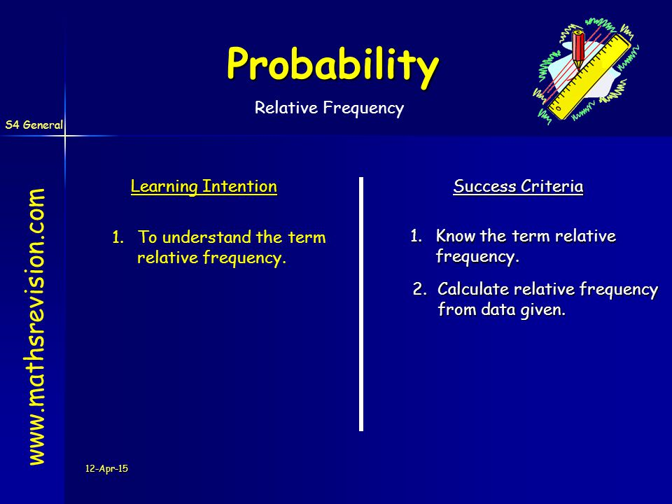 S4 General 12-Apr-15 Probability Learning Intention Success Criteria 1.Know the term relative frequency. 1.To understand the term relative frequency.