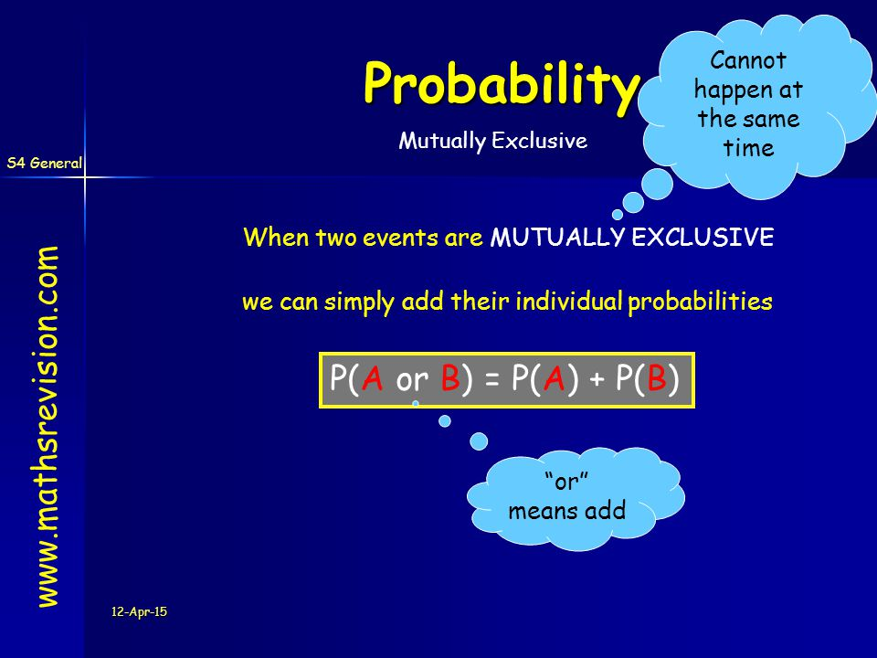 S4 General 12-Apr-15 Probability   P(A or B) = P(A) + P(B) Mutually Exclusive When two events are MUTUALLY EXCLUSIVE Cannot happen at the same time we can simply add their individual probabilities or means add