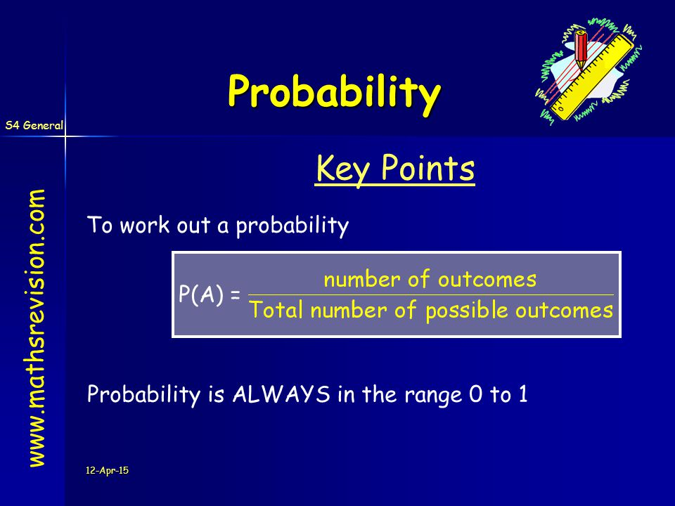 S4 General 12-Apr-15 Probability Number Likelihood Line www.mathsrevision.com 10.50 CertainEvensImpossible 12354 7 68 0.10.20.30.40.60.70.80.9 Q.