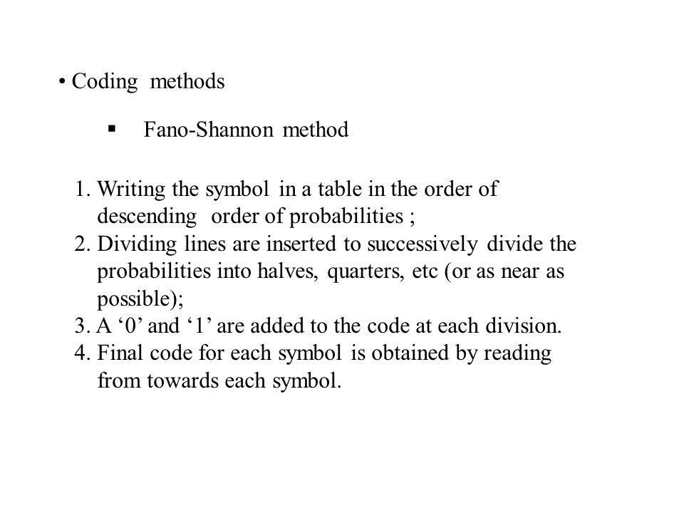 Coding methods  Fano-Shannon method 1.