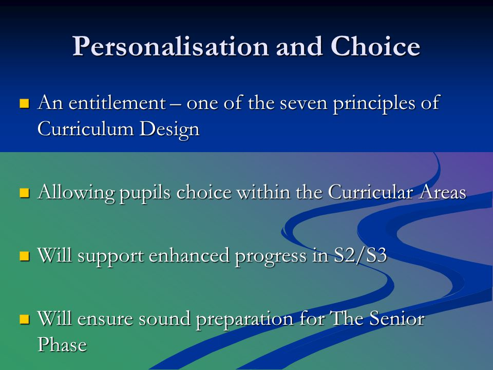 Appropriate Personal Support We will take care during the Senior Phase to ensure that all pupils are effectively supported with regard to their next steps: Those leaving at the end of S4 Those aiming to pass 5 Highers in S5 All others (see Rosshall Senior Phase and Beyond – school website)