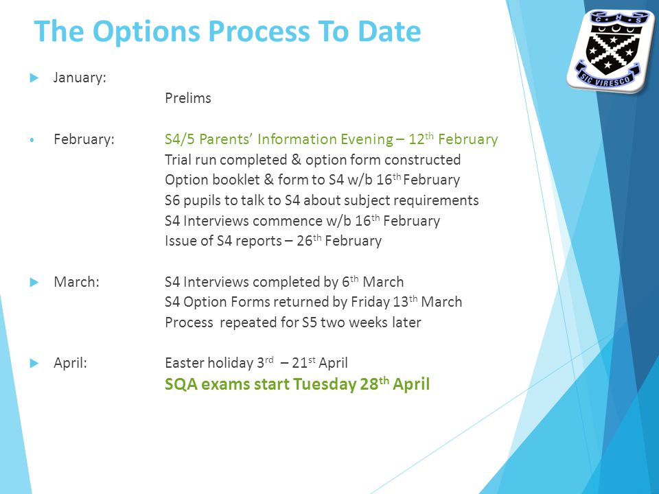 The Options Process To Date  January: S4 Parents' Consultation Evening 22 nd January Prelims February: S4/5 Parents' Information Evening – 12 th February Trial run completed & option form constructed Option booklet & form to S4 w/b 16 th February S6 pupils to talk to S4 about subject requirements S4 Interviews commence w/b 16 th February Issue of S4 reports – 26 th February  March:S4 Interviews completed by 6 th March S4 Option Forms returned by Friday 13 th March Process repeated for S5 two weeks later  April:Easter holiday 3 rd – 21 st April SQA exams start Tuesday 28 th April