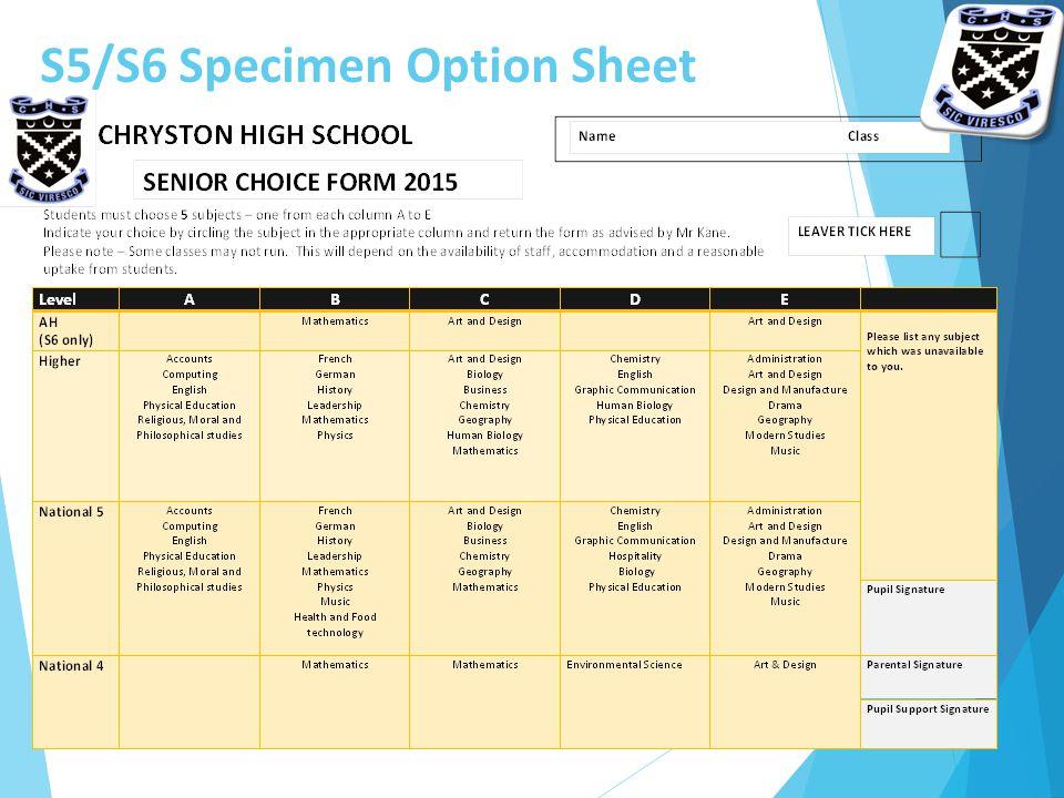 S5/S6 Specimen Option Sheet