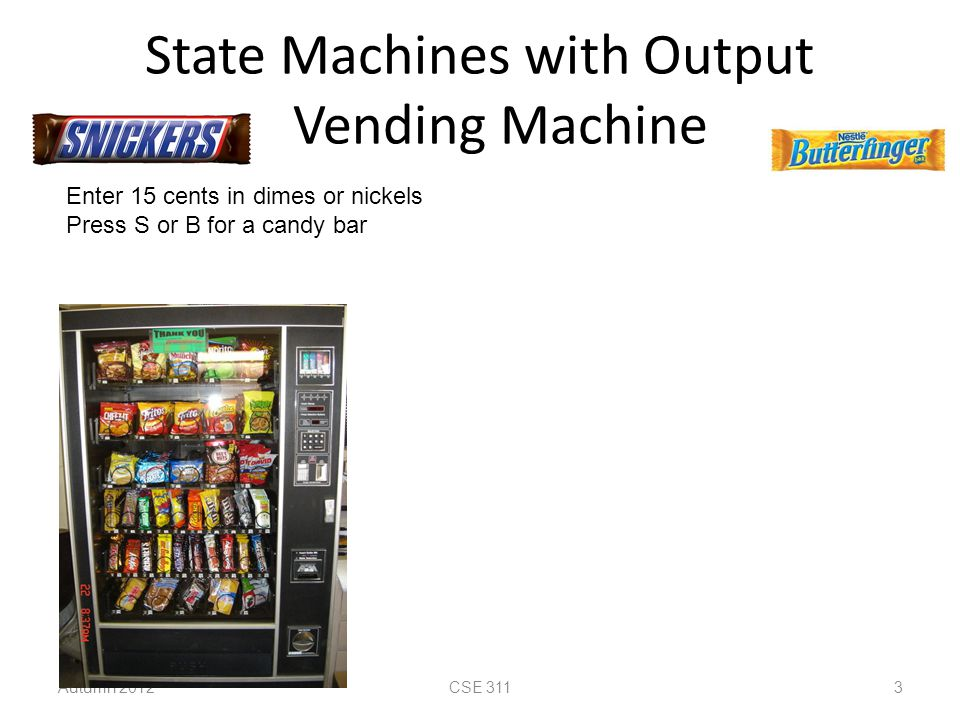 State Machines with Output Vending Machine Autumn 2012CSE 311 3 Enter 15 cents in dimes or nickels Press S or B for a candy bar