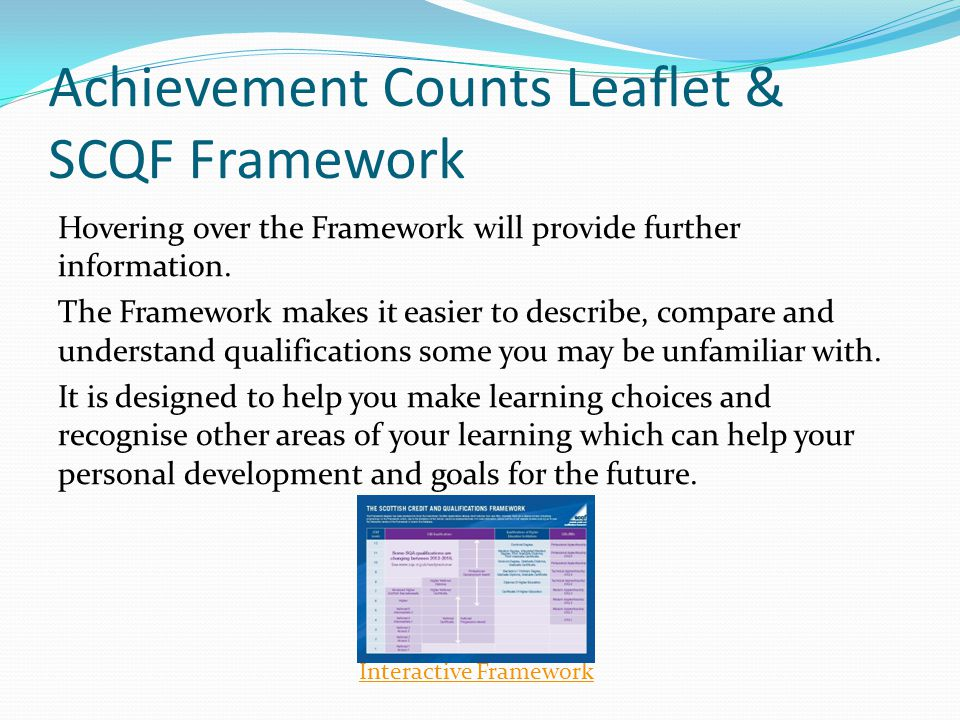 Achievement Counts Leaflet & SCQF Framework Hovering over the Framework will provide further information.