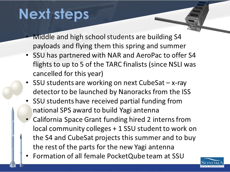 Next steps Middle and high school students are building S4 payloads and flying them this spring and summer SSU has partnered with NAR and AeroPac to offer S4 flights to up to 5 of the TARC finalists (since NSLI was cancelled for this year) SSU students are working on next CubeSat – x-ray detector to be launched by Nanoracks from the ISS SSU students have received partial funding from national SPS award to build Yagi antenna California Space Grant funding hired 2 interns from local community colleges + 1 SSU student to work on the S4 and CubeSat projects this summer and to buy the rest of the parts for the new Yagi antenna Formation of all female PocketQube team at SSU
