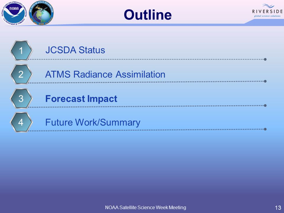 13 Outline Forecast Impact3 JCSDA Status 1 Future Work/Summary4ATMS Radiance Assimilation2 NOAA Satellite Science Week Meeting