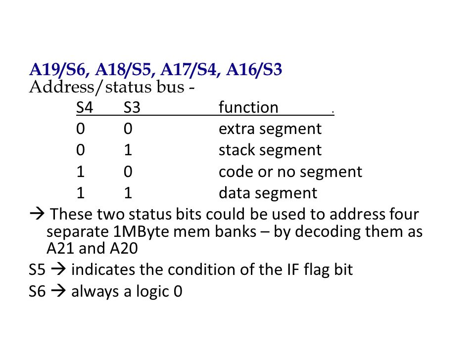 A19/S6, A18/S5, A17/S4, A16/S3 Address/status bus - S4S3function. 00extra segment 01stack segment 10code or no segment 11data segment  These two stat