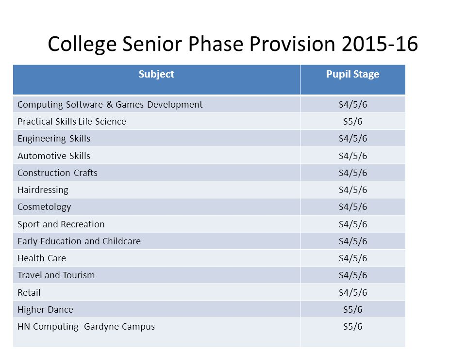 College Senior Phase Provision 2015-16 SubjectPupil Stage Computing Software & Games DevelopmentS4/5/6 Practical Skills Life ScienceS5/6 Engineering SkillsS4/5/6 Automotive SkillsS4/5/6 Construction CraftsS4/5/6 HairdressingS4/5/6 CosmetologyS4/5/6 Sport and RecreationS4/5/6 Early Education and ChildcareS4/5/6 Health CareS4/5/6 Travel and TourismS4/5/6 RetailS4/5/6 Higher DanceS5/6 HN Computing Gardyne CampusS5/6
