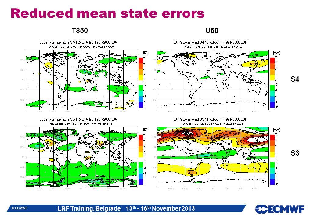 LRF Training, Belgrade 13 th - 16 th November 2013 © ECMWF Reduced mean state errors S4 S3 T850U50