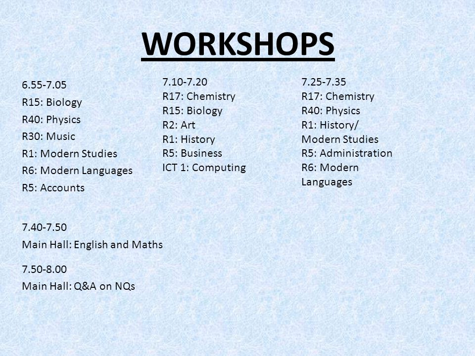 WORKSHOPS 6.55-7.05 R15: Biology R40: Physics R30: Music R1: Modern Studies R6: Modern Languages R5: Accounts 7.40-7.50 Main Hall: English and Maths 7.50-8.00 Main Hall: Q&A on NQs 7.10-7.20 R17: Chemistry R15: Biology R2: Art R1: History R5: Business ICT 1: Computing 7.25-7.35 R17: Chemistry R40: Physics R1: History/ Modern Studies R5: Administration R6: Modern Languages