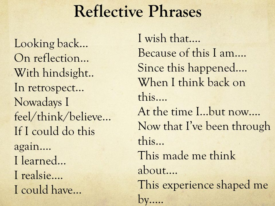 Reflective Phrases Looking back… On reflection… With hindsight.. In retrospect… Nowadays I feel/think/believe… If I could do this again…. I learned… I