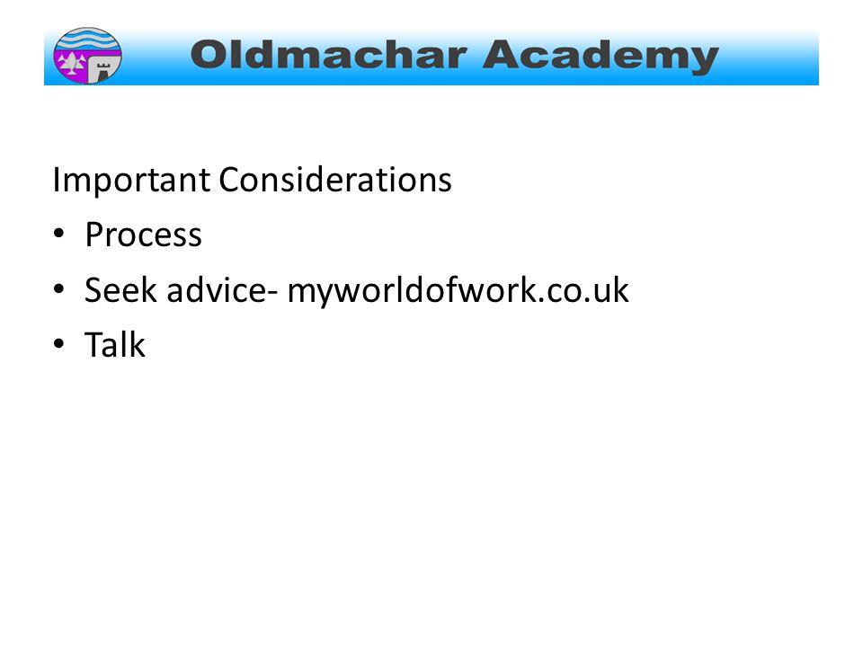 Important Considerations Process Seek advice- myworldofwork.co.uk Talk