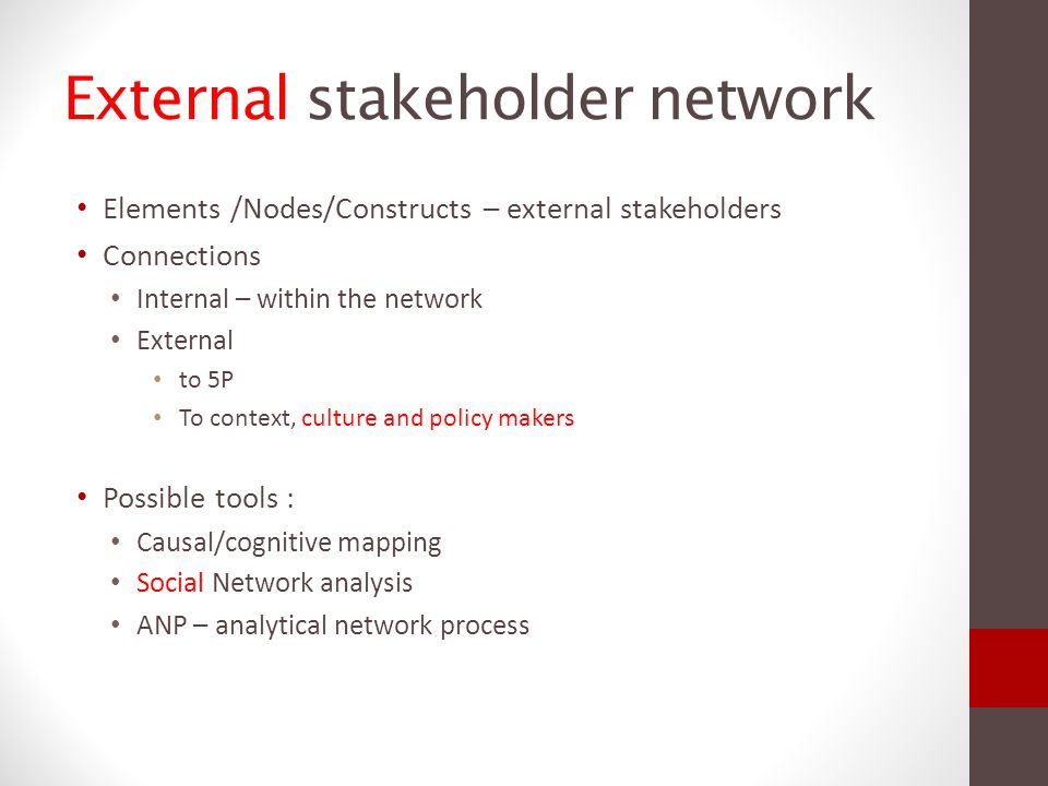Stakeholder's interaction characteristics - attributes Can be increased or decreased by the mutual stakeholder interactions 1.