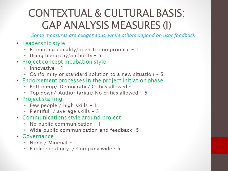 GAP ANALYSIS MEASURES (II) Organizational team culture No synergy / Conflict prone - 1 High synergy / Organizational Consensus – 5 Executing and controlling the project Formal /Rigid / Heavy forward planning and reviews – 1 Pragmatic / Tools as a support – 5 Accountability for success/failure Decentralized between stakeholders – 1 Centralized – 5 Significant fines actually levied in case of delays Nominal Significant / Dissuasive Risk view by Project owners (attitude) Embracing risk - 1 Avoiding risk - 5 Willingness of Project owners to change contractors Low - 1 High - 5