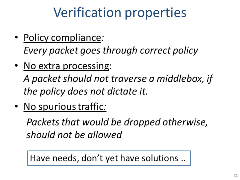 Verification properties Policy compliance: Every packet goes through correct policy No extra processing: A packet should not traverse a middlebox, if