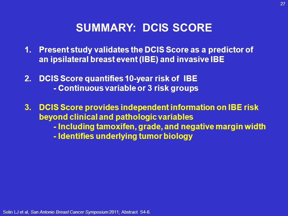SUMMARY: DCIS SCORE 1.Present study validates the DCIS Score as a predictor of an ipsilateral breast event (IBE) and invasive IBE 2.DCIS Score quantif