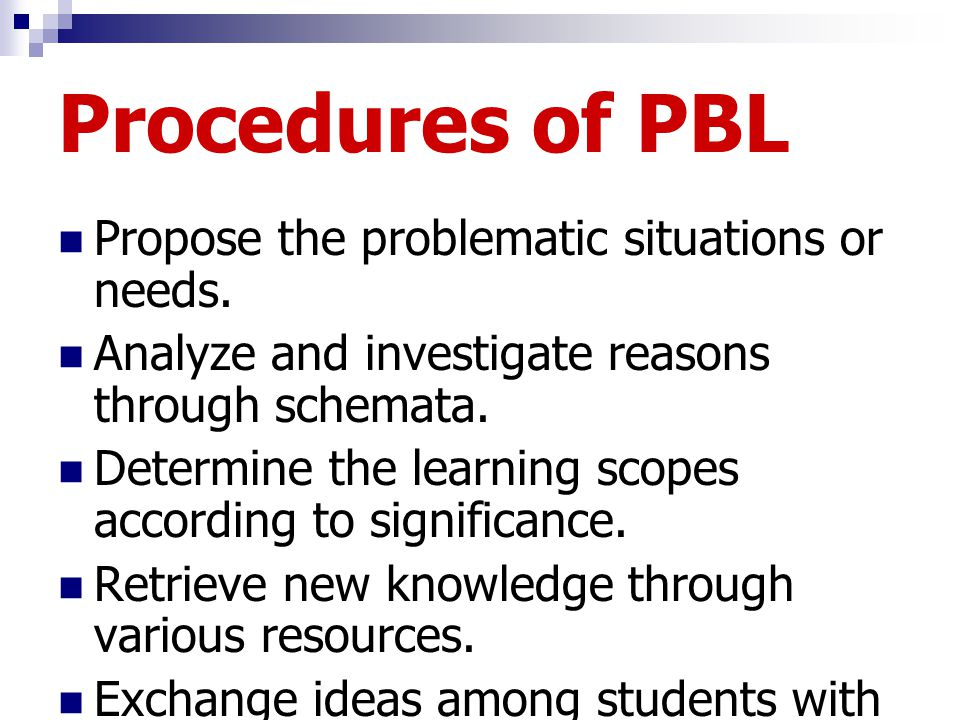 Procedures of PBL Propose the problematic situations or needs. Analyze and investigate reasons through schemata. Determine the learning scopes accordi
