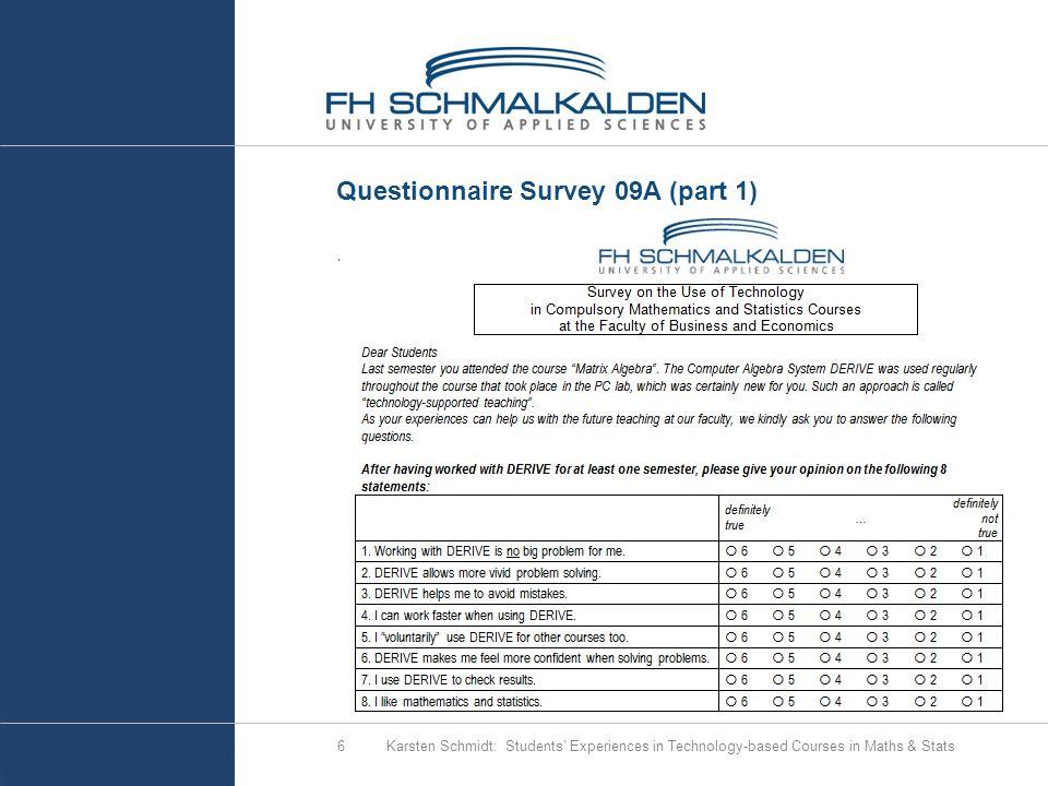 6 Questionnaire Survey 09A (part 1).