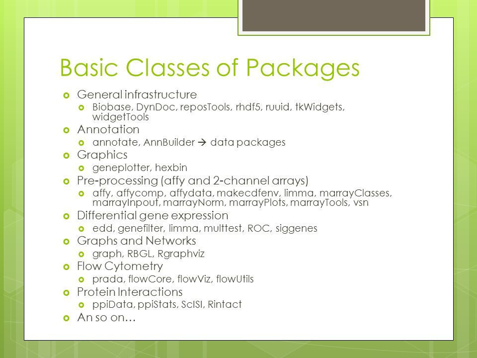 Basic Classes of Packages  General infrastructure  Biobase, DynDoc, reposTools, rhdf5, ruuid, tkWidgets, widgetTools  Annotation  annotate, AnnBui