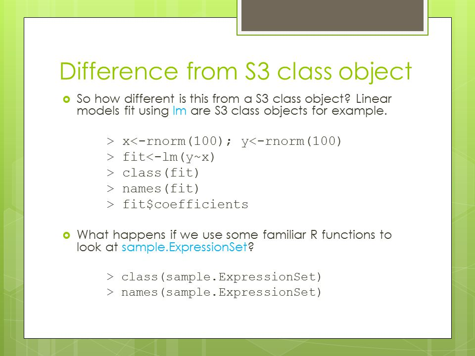 Difference from S3 class object  So how different is this from a S3 class object.