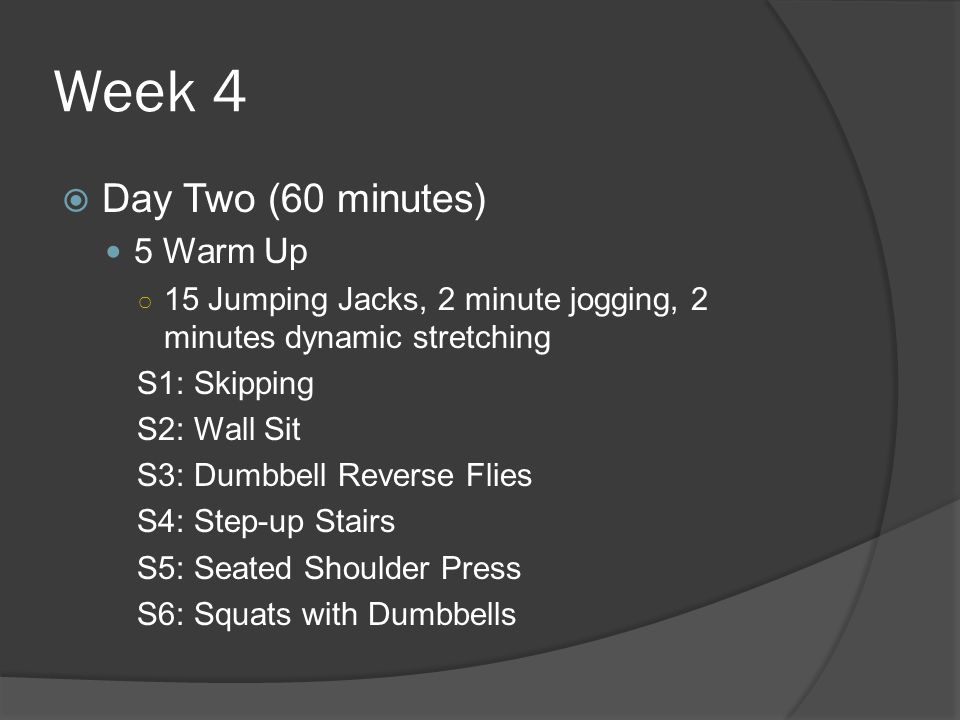 Week 4  Day Two (60 minutes) 5 Warm Up ○ 15 Jumping Jacks, 2 minute jogging, 2 minutes dynamic stretching S1: Skipping S2: Wall Sit S3: Dumbbell Reverse Flies S4: Step-up Stairs S5: Seated Shoulder Press S6: Squats with Dumbbells