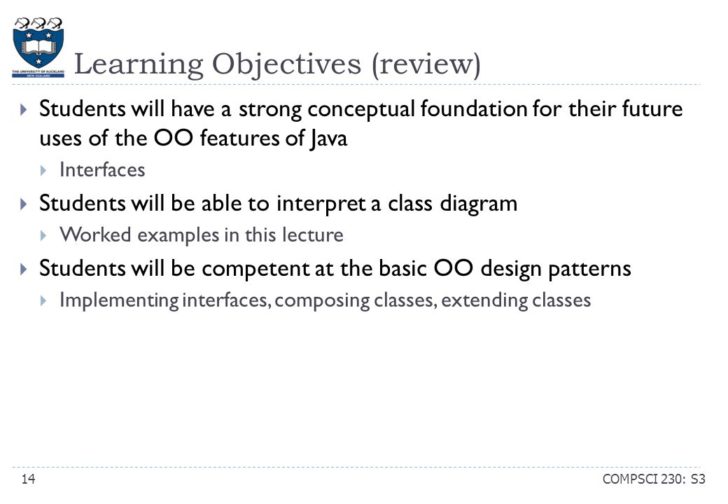 Learning Objectives (review) COMPSCI 230: S314  Students will have a strong conceptual foundation for their future uses of the OO features of Java 