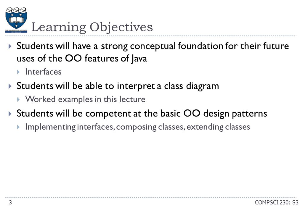 Learning Objectives (review) COMPSCI 230: S314  Students will have a strong conceptual foundation for their future uses of the OO features of Java  Interfaces  Students will be able to interpret a class diagram  Worked examples in this lecture  Students will be competent at the basic OO design patterns  Implementing interfaces, composing classes, extending classes