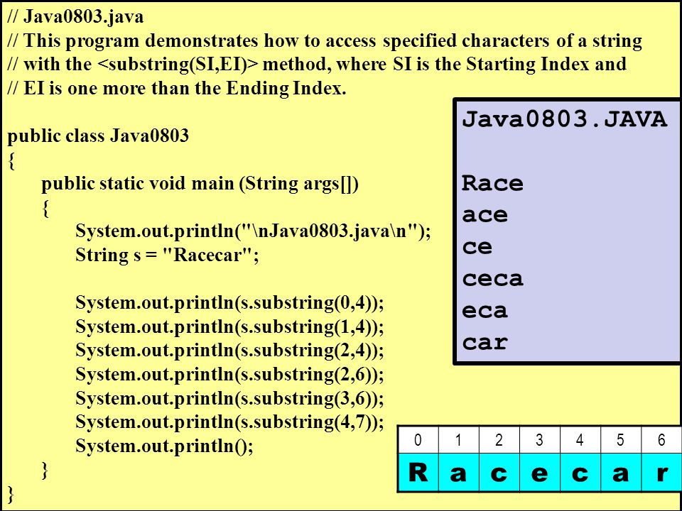 // Java0803.java // This program demonstrates how to access specified characters of a string // with the method, where SI is the Starting Index and // EI is one more than the Ending Index.