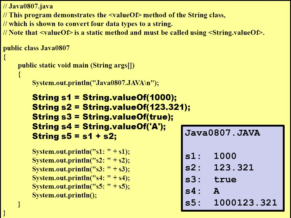 // Java0807.java // This program demonstrates the method of the String class, // which is shown to convert four data types to a string.