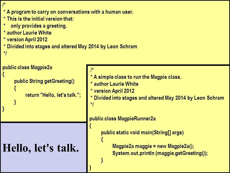 /* * A program to carry on conversations with a human user.