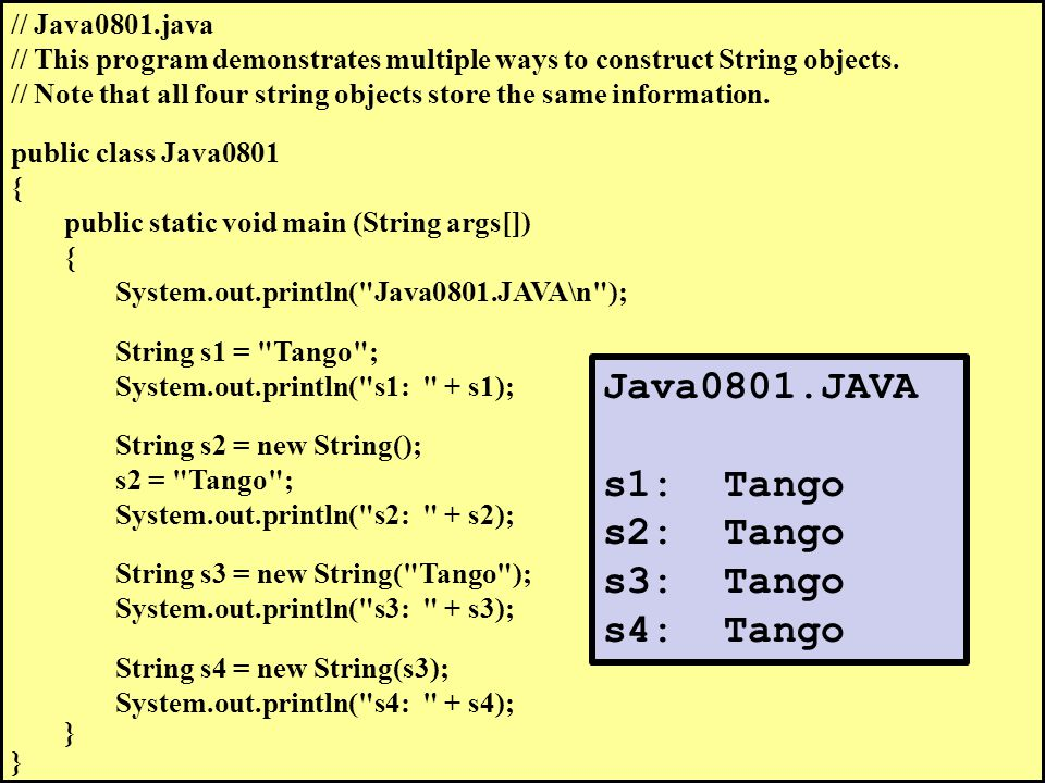 // Java0809.java // This program checks equality of strings using the == operator.