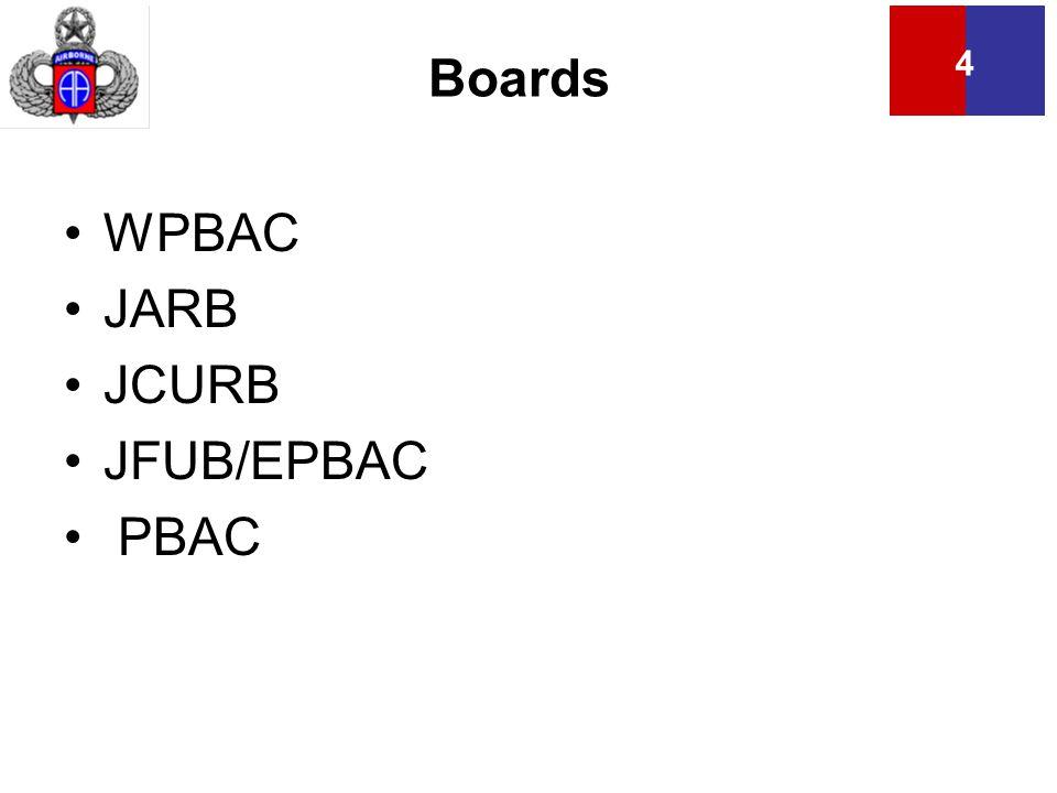 4 Boards WPBAC JARB JCURB JFUB/EPBAC PBAC