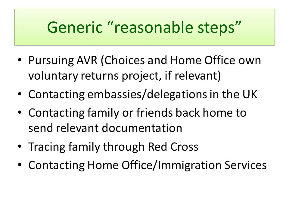 "Generic ""reasonable steps"" Pursuing AVR (Choices and Home Office own voluntary returns project, if relevant) Contacting embassies/delegations in the U"