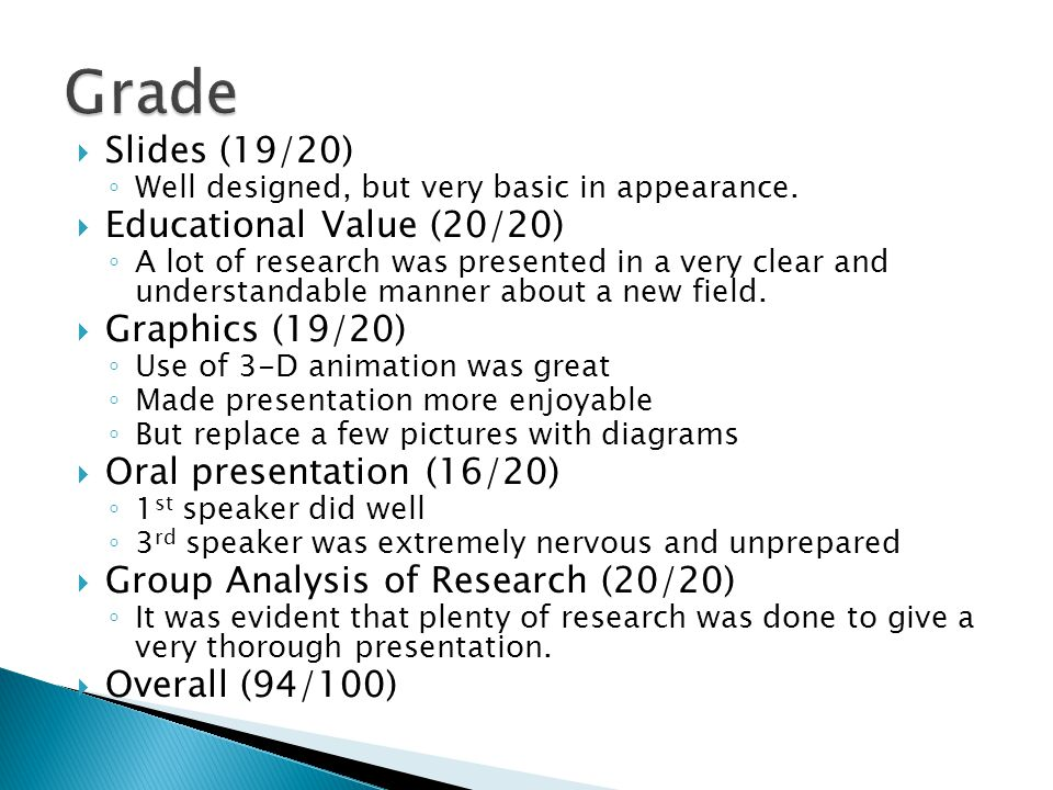  Slides (19/20) ◦ Well designed, but very basic in appearance.  Educational Value (20/20) ◦ A lot of research was presented in a very clear and unde