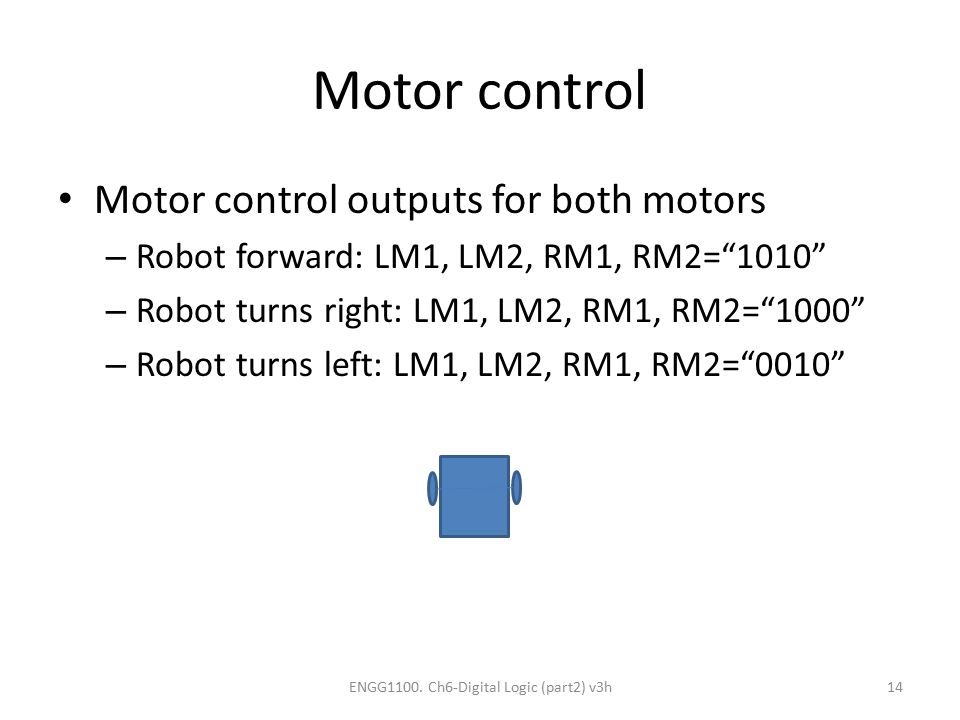 "Motor control Motor control outputs for both motors – Robot forward: LM1, LM2, RM1, RM2=""1010"" – Robot turns right: LM1, LM2, RM1, RM2=""1000"" – Robot"