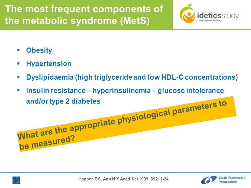 Hansen BC. Ann N Y Acad Sci 1999; 892: 1-24 The most frequent components of the metabolic syndrome (MetS)  Obesity  Hypertension  Dyslipidaemia (hi