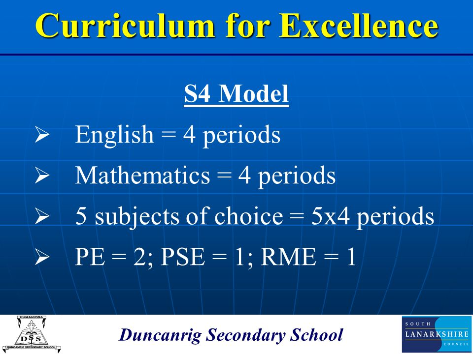 Duncanrig Secondary School S4 Model  English = 4 periods  Mathematics = 4 periods  5 subjects of choice = 5x4 periods  PE = 2; PSE = 1; RME = 1 Cu