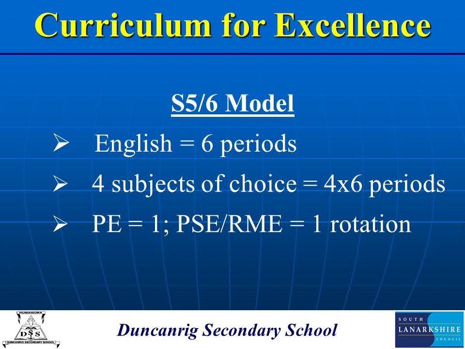 Duncanrig Secondary School S5/6 Model  English = 6 periods  4 subjects of choice = 4x6 periods  PE = 1; PSE/RME = 1 rotation Curriculum for Excelle