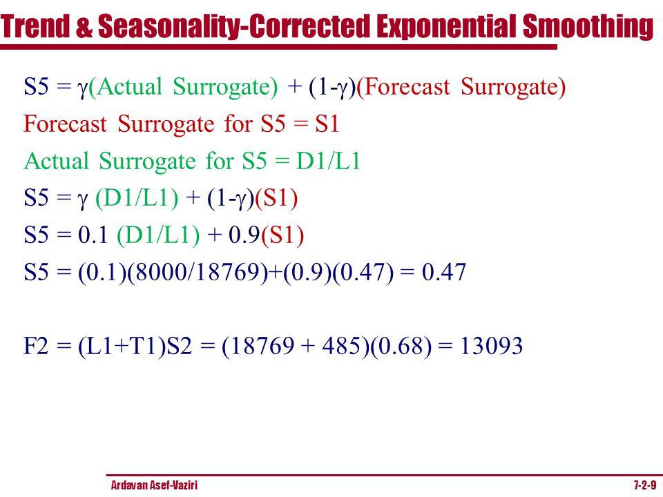 Ardavan Asef-Vaziri 7-2-9 S5 =  (Actual Surrogate) + (1-  )(Forecast Surrogate) Forecast Surrogate for S5 = S1 Actual Surrogate for S5 = D1/L1 S5 =  (D1/L1) + (1-  )(S1) S5 =  (D1/L1) + 0.9(S1) S5 = (0.1)(8000/18769)+(0.9)(0.47) = 0.47 F2 = (L1+T1)S2 = (18769 + 485)(0.68) = 13093 Trend & Seasonality-Corrected Exponential Smoothing