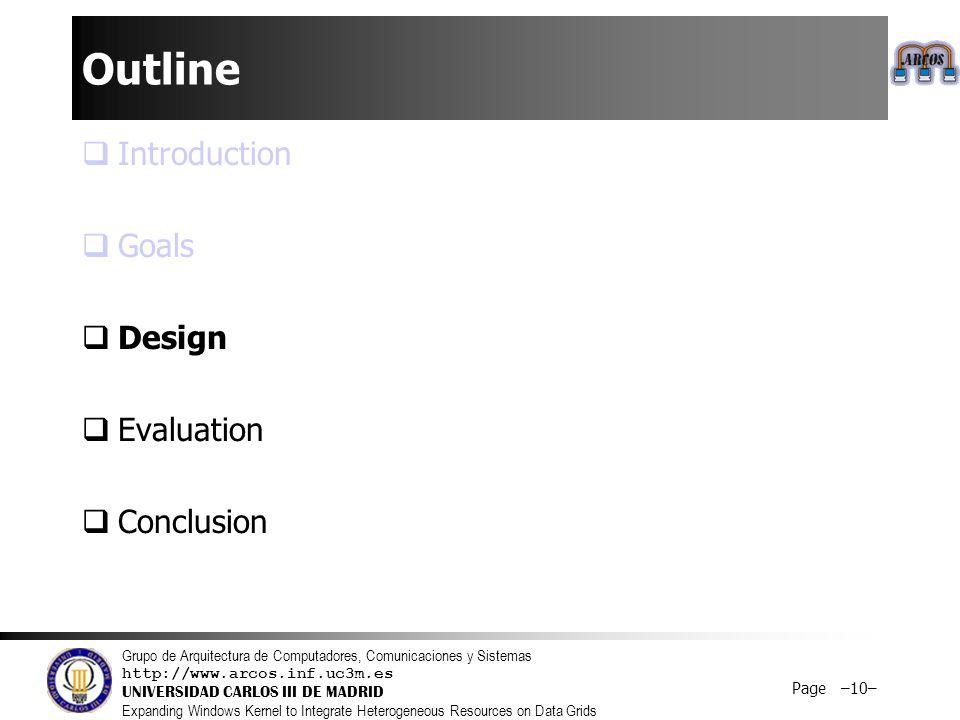Grupo de Arquitectura de Computadores, Comunicaciones y Sistemas http://www.arcos.inf.uc3m.es UNIVERSIDAD CARLOS III DE MADRID Expanding Windows Kernel to Integrate Heterogeneous Resources on Data Grids Page –10– Outline  Introduction  Goals  Design  Evaluation  Conclusion