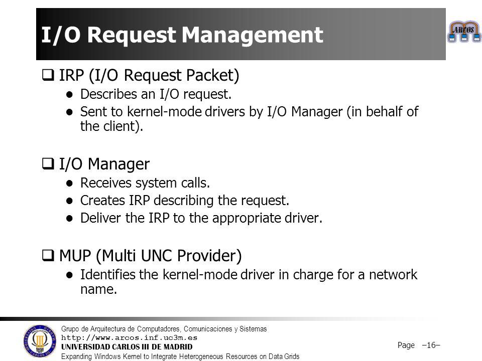 Grupo de Arquitectura de Computadores, Comunicaciones y Sistemas http://www.arcos.inf.uc3m.es UNIVERSIDAD CARLOS III DE MADRID Expanding Windows Kernel to Integrate Heterogeneous Resources on Data Grids Page –16– I/O Request Management  IRP (I/O Request Packet) Describes an I/O request.