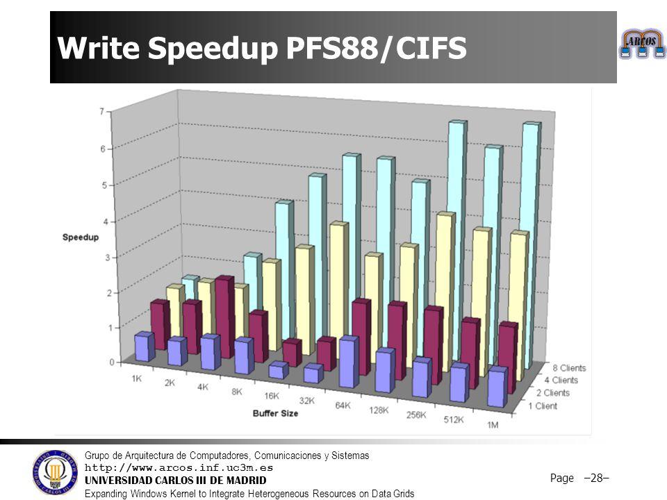 Grupo de Arquitectura de Computadores, Comunicaciones y Sistemas http://www.arcos.inf.uc3m.es UNIVERSIDAD CARLOS III DE MADRID Expanding Windows Kernel to Integrate Heterogeneous Resources on Data Grids Page –28– Write Speedup PFS88/CIFS
