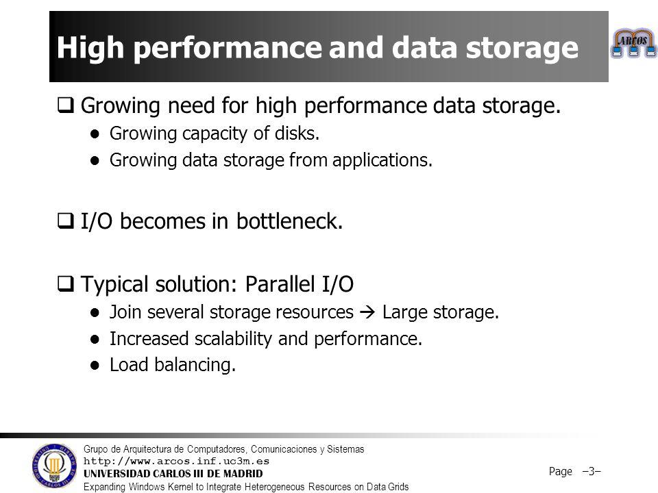 Grupo de Arquitectura de Computadores, Comunicaciones y Sistemas http://www.arcos.inf.uc3m.es UNIVERSIDAD CARLOS III DE MADRID Expanding Windows Kernel to Integrate Heterogeneous Resources on Data Grids Page –3– High performance and data storage  Growing need for high performance data storage.