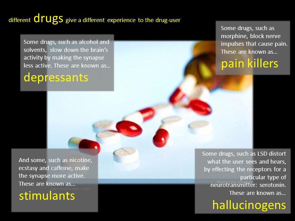 different drugs give a different experience to the drug-user Some drugs, such as alcohol and solvents, slow down the brain's activity by making the sy